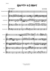 Gavotte in D Minor for Recorder Quintet
